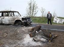 Атакованный блокпост в Славянске