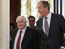 Глава МИД Сирии Валид Муаллем и министр иностранных дел России Сергей Лавров