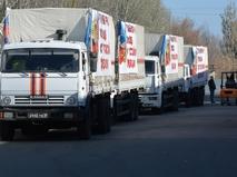 Колонна грузовых автомобилей с российской гуманитарной помощью
