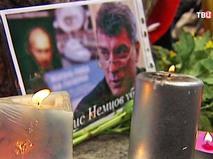 Траурный портрет погибшего Бориса Немцова