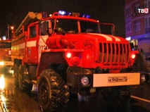 Пожарные машины на месте возгорания