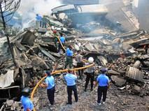 На месте крушения самолета в Индонезии