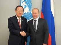 Президент России Владимир Путин и генсек ООН Пан Ги Мун