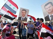 Митинг в Сирии в поддержку Башара Асада