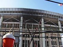 """Последствия возгорания на стадионе """"Лужники"""""""