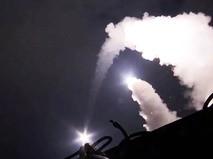 Запуск ракет с кораблей Каспийской флотилии ВМФ по позициям ИГ в Сирии