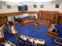 Мэр Москвы Сергей Собянин выступает с отчетом о результатах деятельности в Мосгордуме