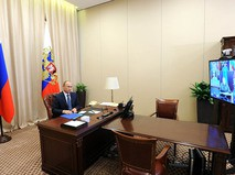 Владимир Путин на совещании в режиме телемоста с руководством Министерства обороны России