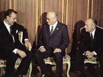 Генеральный секретарь ЦК КПСС Юрий Андропов беседует с президентом Финляндии Мауно Койвисто во время его официального визита в Москву