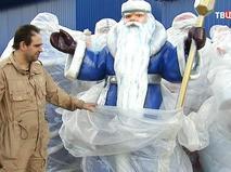 """Фигура Деда Мороза, изготовленная в мастерской по производству арт-объектов для фестиваля """"Путешествие в Рождество"""""""