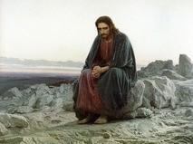"""Репродукция картины """"Христос в пустыне"""" работы художника Ивана Крамского"""
