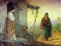 """Репродукция эскиза картины """"Мария, сестра Лазаря, встречает Иисуса Христа, идущего к ним в дом"""" (1864 г.) работы художника Николая Ге"""