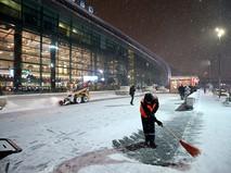 Сотрудник коммунальных служб убирает снег возле здания аэропорта Домодедово в Москве