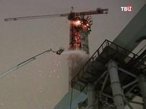 Возгорание на строительной площадке в Санкт-Петербурге