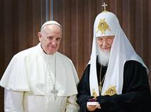 Патриарх Московский и всея Руси Кирилл и папа Римский Франциск во время встречи