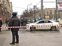 Полицейское оцепление на месте происшествия в Москве