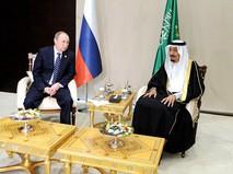 Президент России Владимир Путин и с король Саудовской Аравии Сальман Бен Абдель Азиз Аль Сауд