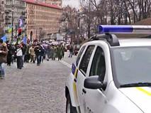 Полиция Украины на фоне митинга