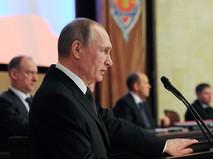 Президент России Владимир Путин выступает на заседании коллегии ФСБ в Москве