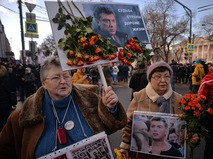 Участники марша памяти, посвященного годовщине гибели политика, общественного деятеля Бориса Немцова