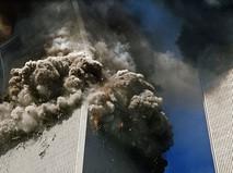 Теракт 11 сентября 2001 года. Обрушение южной башни Всемирного торгового центра в Нью-Йорке. США