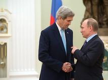 Президент России Владимир Путин и государственный секретарь США  Джон Керри