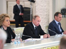 Владимир Путин на заседании Государственного совета РФ по развитию строительного комплекса и совершенствованию градостроительной сферы