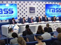 Представители партии КПРФ на пресс-конференции