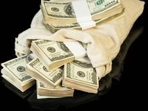 Мешок с пачками долларов