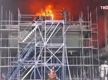 """Пожар на строящемся тральщике """"Георгий Курбатов"""" в Санкт-Петербурге"""