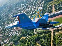 """Истребитель Су-27 пилотажной группы """"Русские витязи"""""""