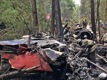 На месте крушения истребителя Су-27 в Подмосковье