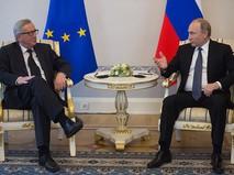 Президент РФ Владимир Путин и председатель Европейской комиссии Жан-Клод Юнкер