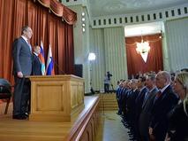 Сергей Лавров и Владимир Путин на совещании послов и постоянных представителей России в иностранных государствах в МИД РФ