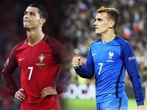 Игрок сборной Португалии Криштиану Роналду и игрок сборной Франции Антуан Гризманн