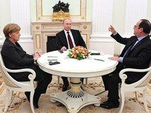 Встреча Владимира Путина с Франсуа Олландом и Ангелой Меркель