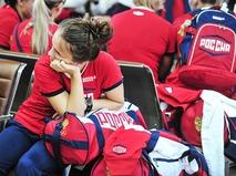 Спортсмены олимпийской команды России в аэропорту