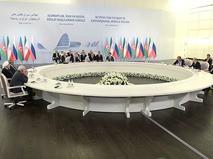Церемония подписания совместной декларации по итогам трехсторонней встречи лидеров России, Ирана и Азербайджана
