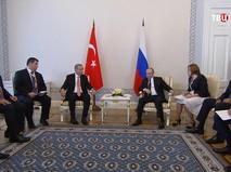Владимир Путин и Реджеп Эрдоган во время встречи в Санкт-Петербурге