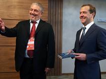 Председатель правительства РФ Дмитрий Медведев и советник по науке Государственного совета Кубы Фидель Анхель Кастро Диас-Баларт