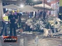 Пожарные на месте взрыва в кафе в Испании