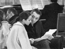 Юрий Григорович с супругой Наталией Бессмертновой на репетиции