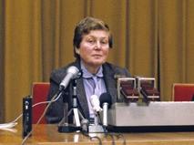 Светлана Аллилуева на пресс-конференции после возвращения в СССР в 1984 г.