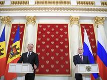 Президент России Владимир Путин и президент Молдавии Игорь Додон