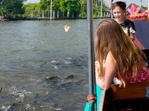 Туристы кормят рыб