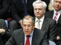 Сергей Лавров и Виталий Чуркин (на заднем плане)