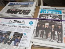 Первые полосы французских газет, посвящённые президентским дебатам
