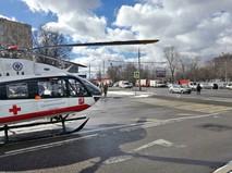 Медицинский вертолет на месте происшествия