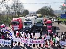 Акция протеста на трассе Львов-Варшава