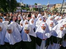Участники акции прихожан Украинской православной церкви Московского патриархата в Киеве